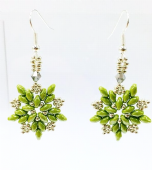 SuperDuo Star Earrings Bead pack - Green and Silver
